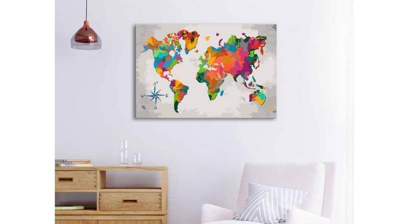 Maleri verdenskort - Gør-det-selv