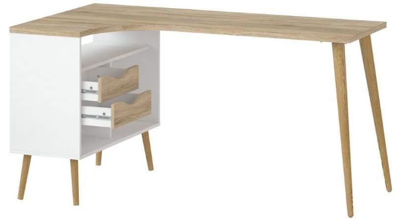 Hjørneskrivebord - Hvid og eg