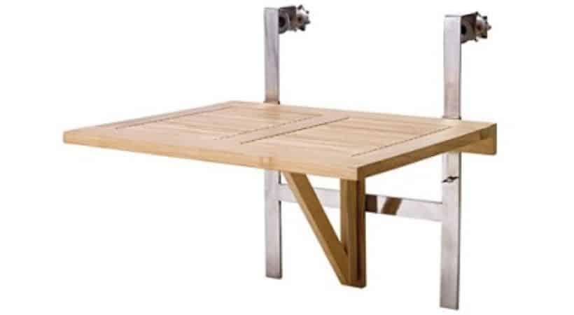 Klapbord til altan - Teak & rustfrit stål