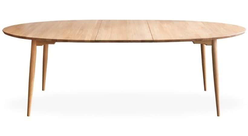 Ovalt spisebord i eg - Med udtræk