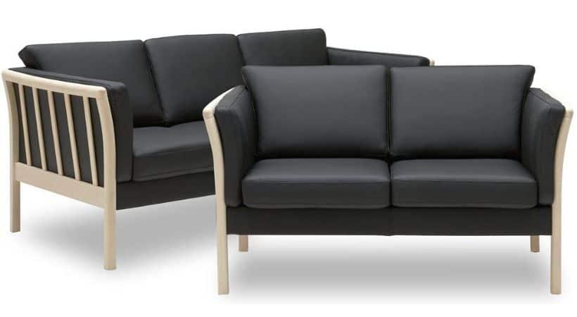 2 og 3 personers sofa i læder - Træstel