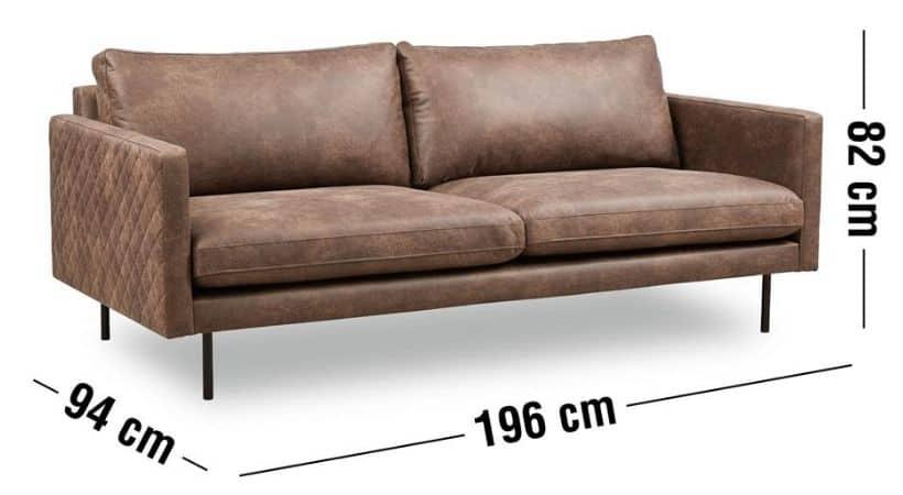 Billig brun laedersofa - Bonded laeder