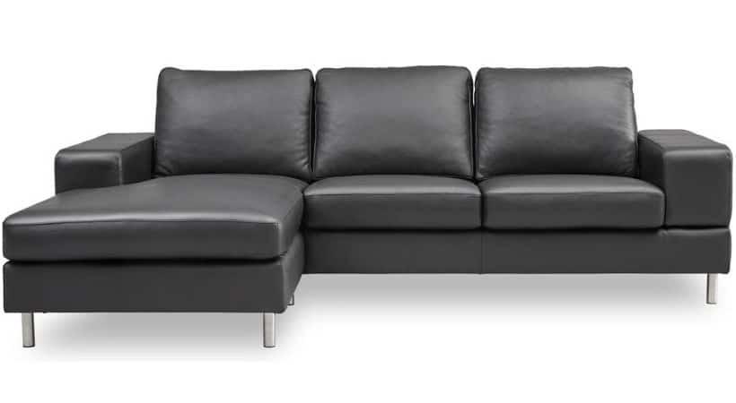 Lædersofa med chaiselong