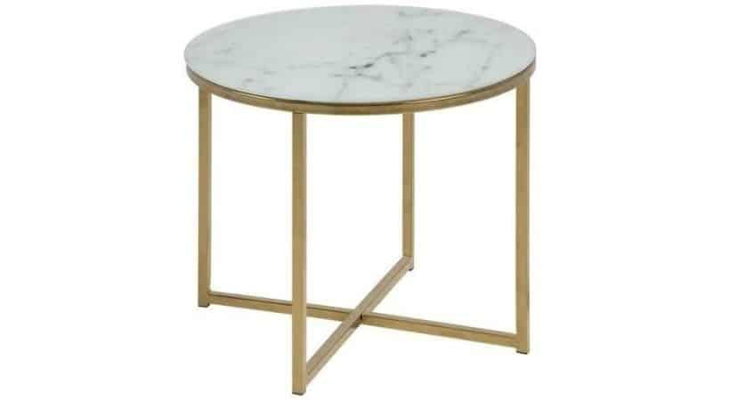 Hvidt hjørnebord med marmor-look