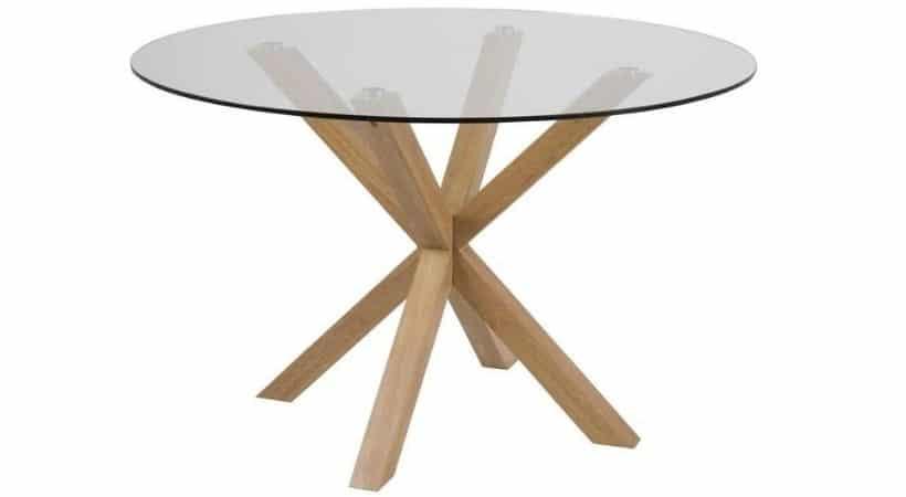 Rundt glas spisebord