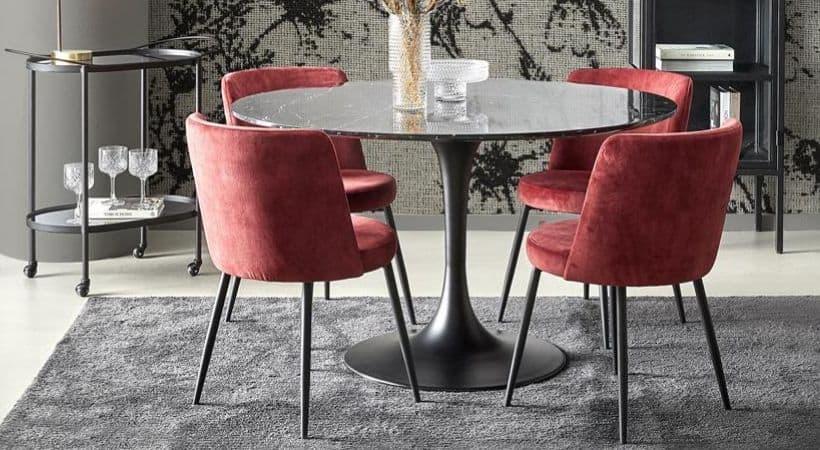 Rundt spisebord i marmor - Sort