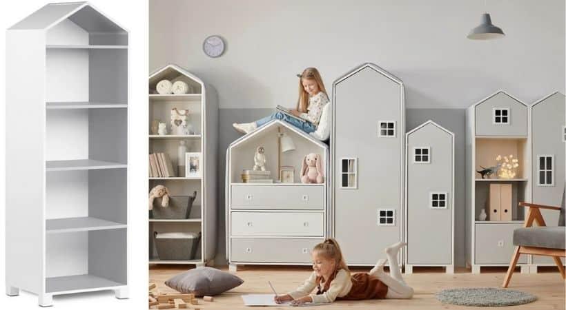 Sjov børnereol - Formet som hus