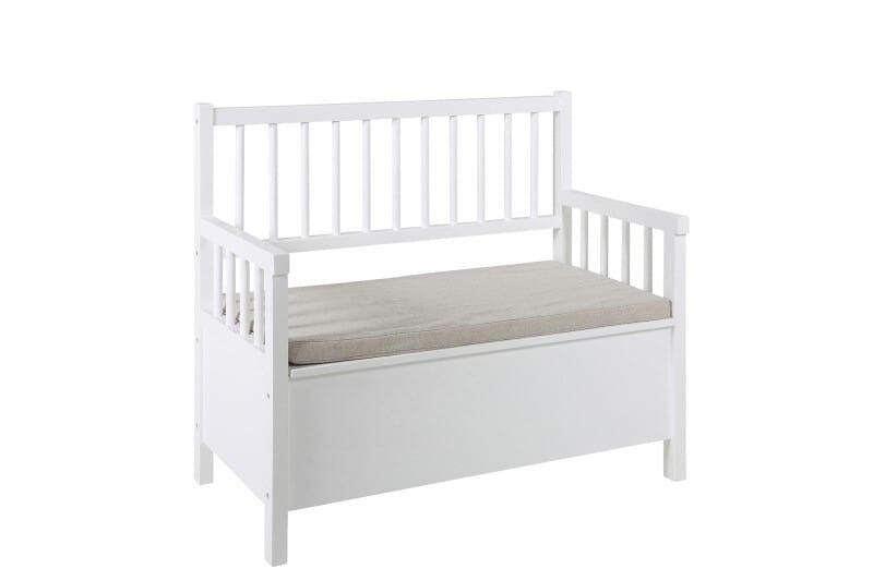 Sofabænk - Hvid bænk med hynde
