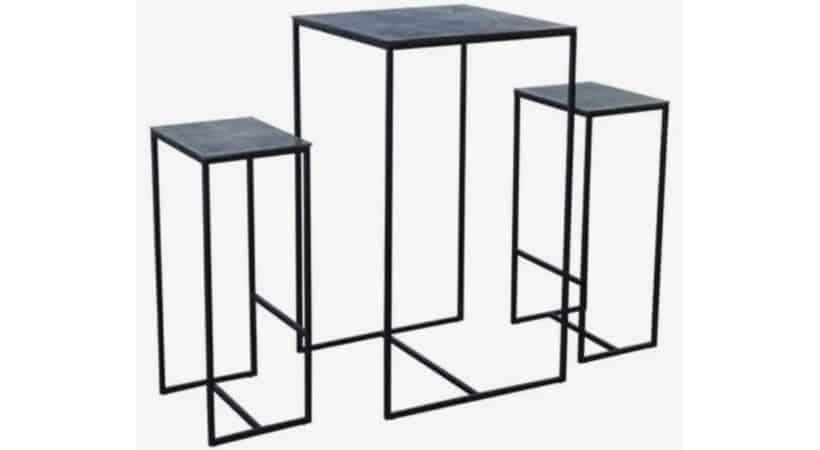 2 barstole med bord - Rustikt look