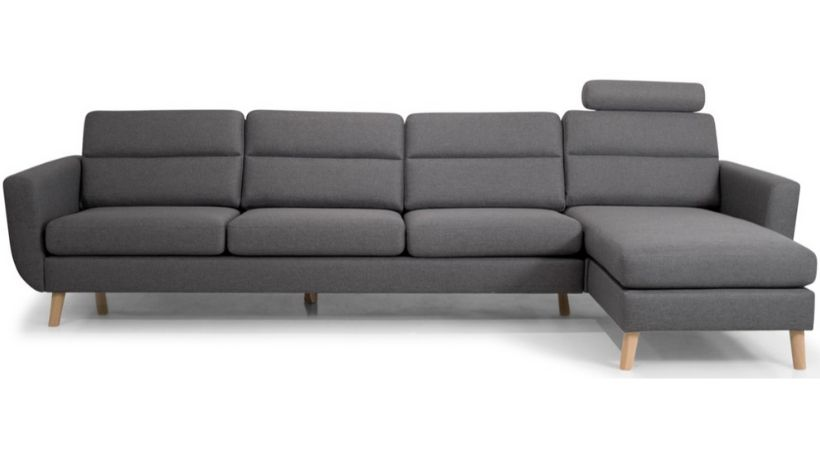 Billig 4-personers sofa med chaiselong