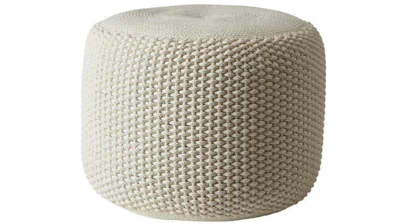 Billig hvid puf i hæklet design - Criss