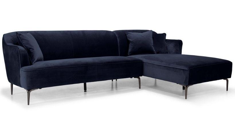 Billig mørkeblå velour-sofa med chaiselong - Monica