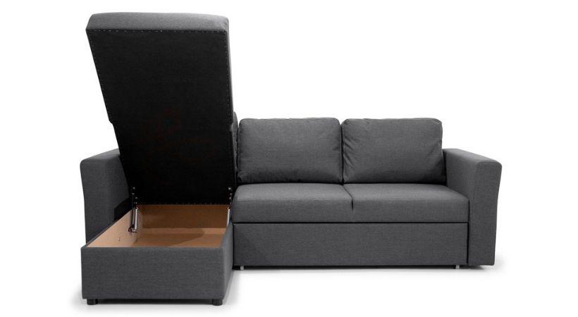 Billig sovesofa med chaiselong og opbevaring