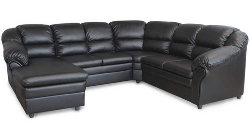 Billig u-sofa med chaiselong - Læder-look