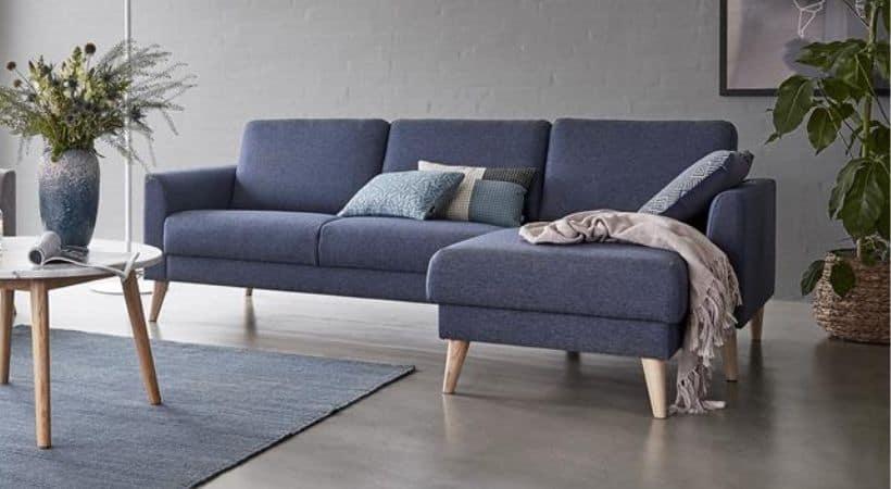 Blå sofa med chaiselong - Højrevendt