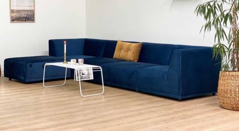 Blå velour-sofa - New York