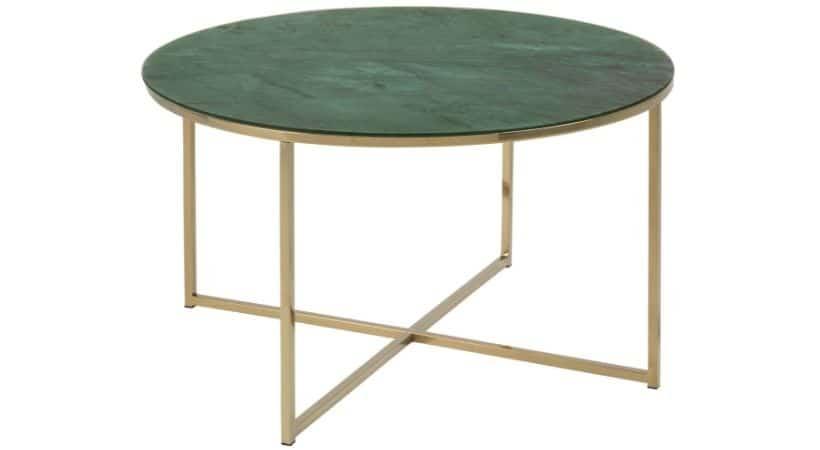 Grønt sofabord med marmor-look & ben med guld-finish