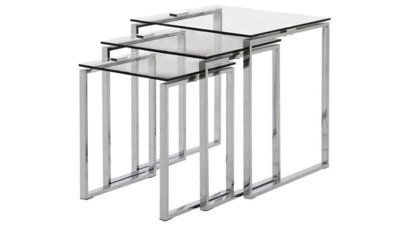Katrine indskudsborde - 3 sofaborde med glasplade