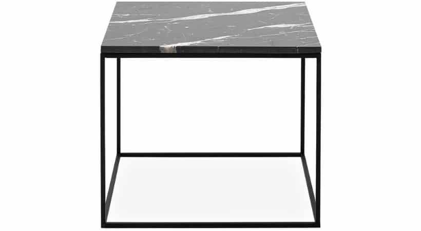 Lille kvadratisk sofabord i sort marmor - Square