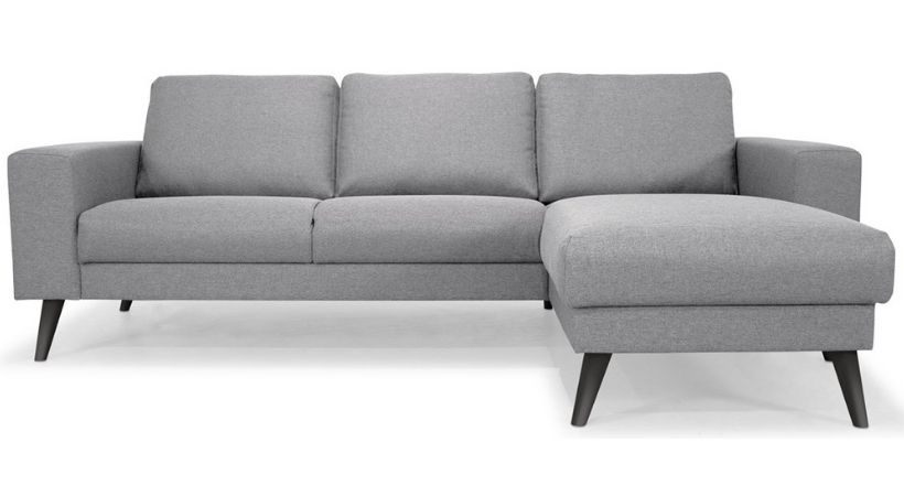 Lysegrå Boston chaiselong sofa