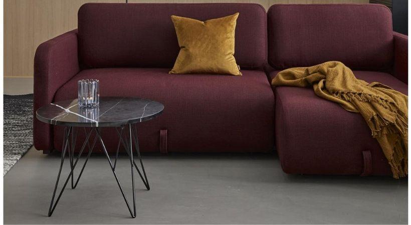 Marmor sofabord - Rundt og sort