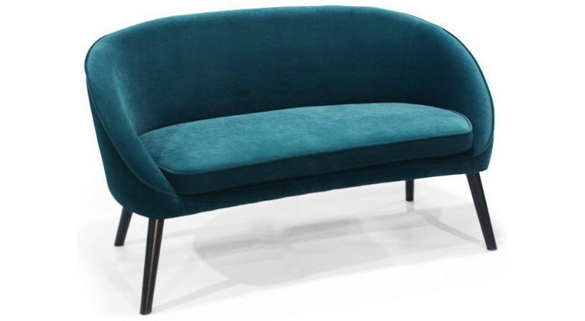 Petroleum-farvet velour-sofa til 2 personer