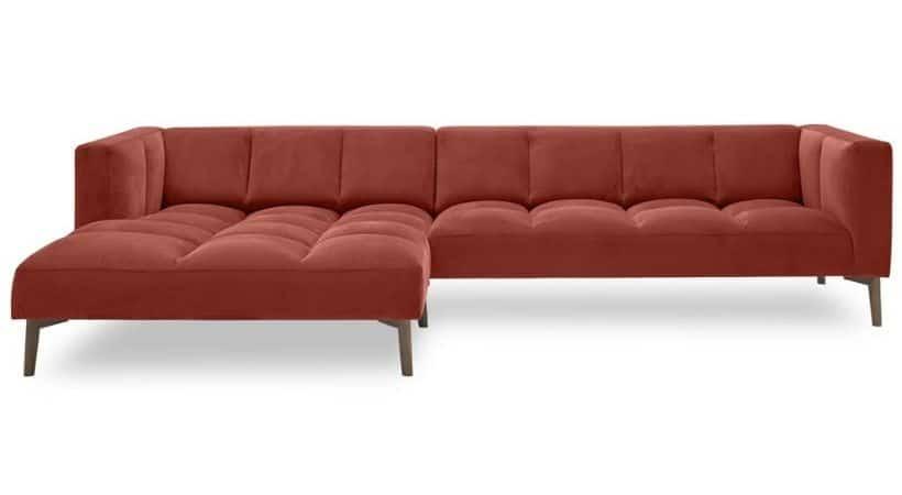 Rød velour-sofa - Orto