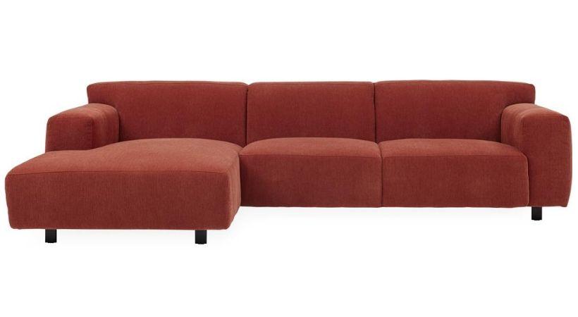 Rød sofa med chaiselong - Siena