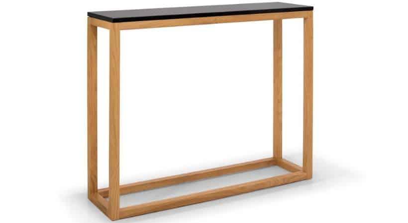 Smalt konsolbord i eg & marmor