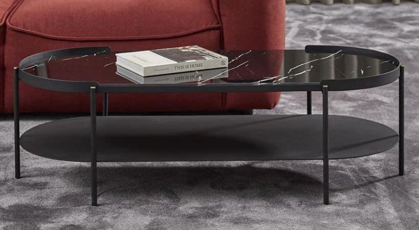 Smalt og ovalt sofabord i glas - Rio