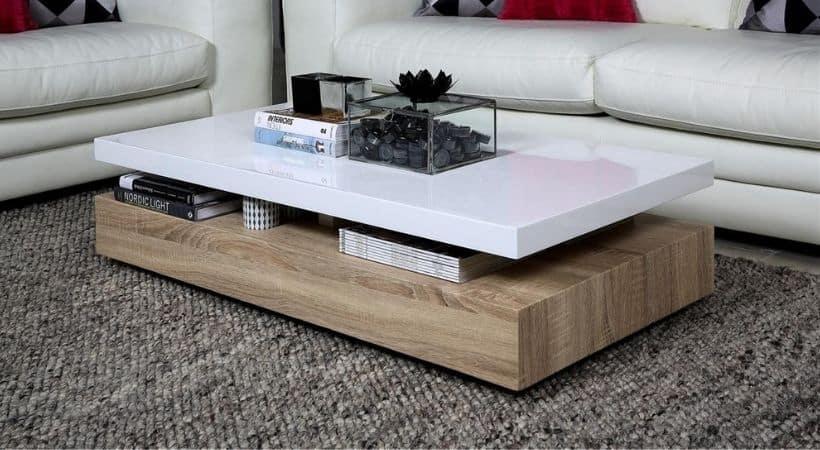 Sofabord i hvid højglans - Malakit