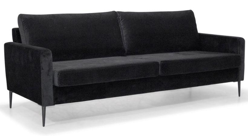 Sort velour-sofa - Sencillo