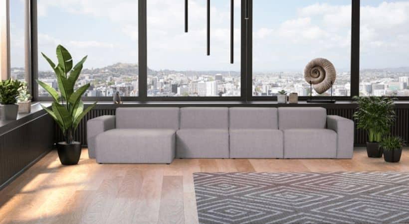 Stor velour-sofa med chaiselong - Manhattan
