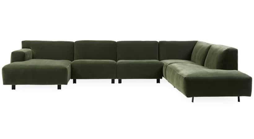 Stor velour-sofa med chaiselong - Vesta