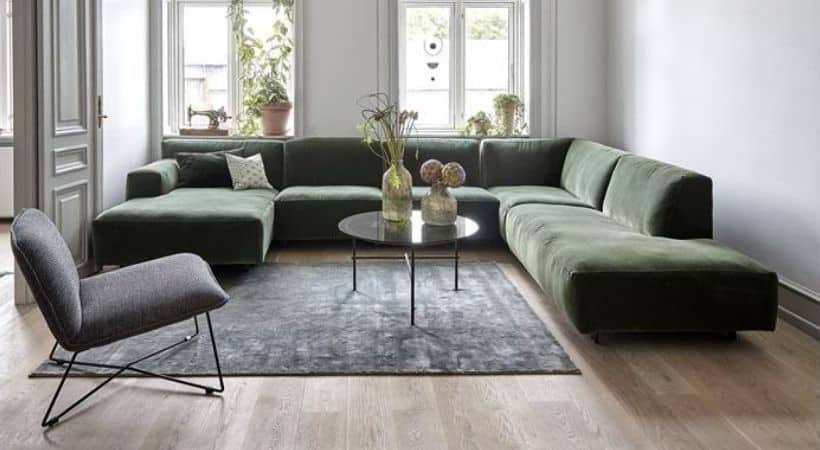 Velour sofa med chaiselong - Venstrevendt