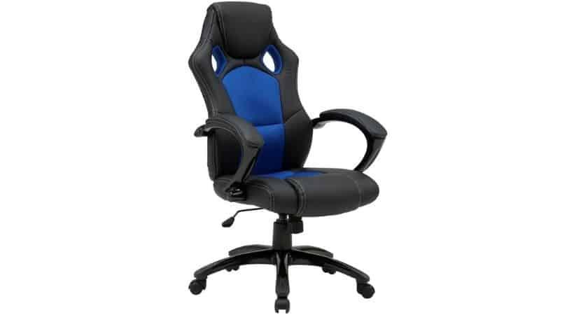 Blå/sort kontorstol med høj ryg og armlæn - Race