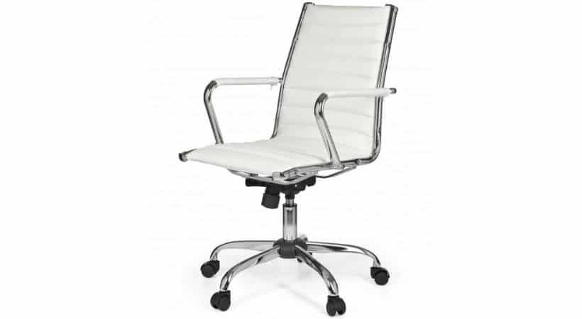 Hvid kontorstol - Imiteret læder