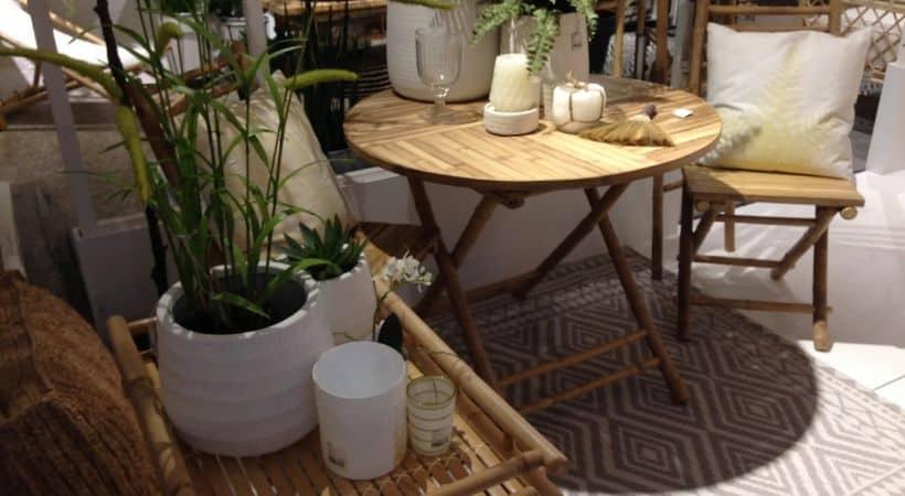 Sammenklappeligt spisebord i bambus - Ø90