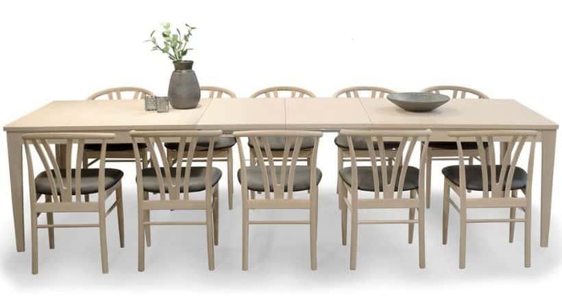 Spisebordssæt - Stort spisebord med 10 stole