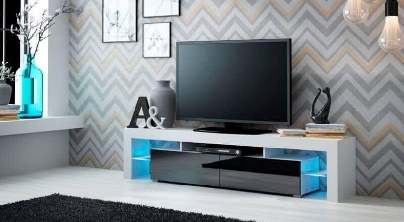 TV-bord i sort/hvid højglans