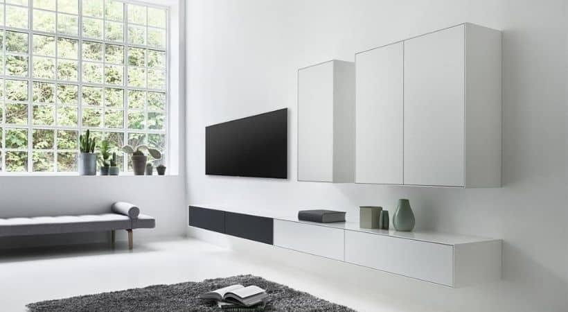 TV-reolsystem - Stort TV-møbel med stoflåger