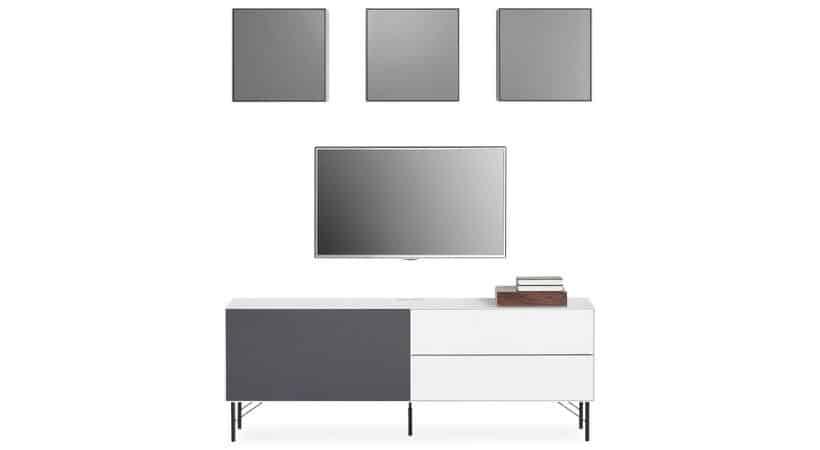 TV-reolsystem - TV-møbel med stoflåge