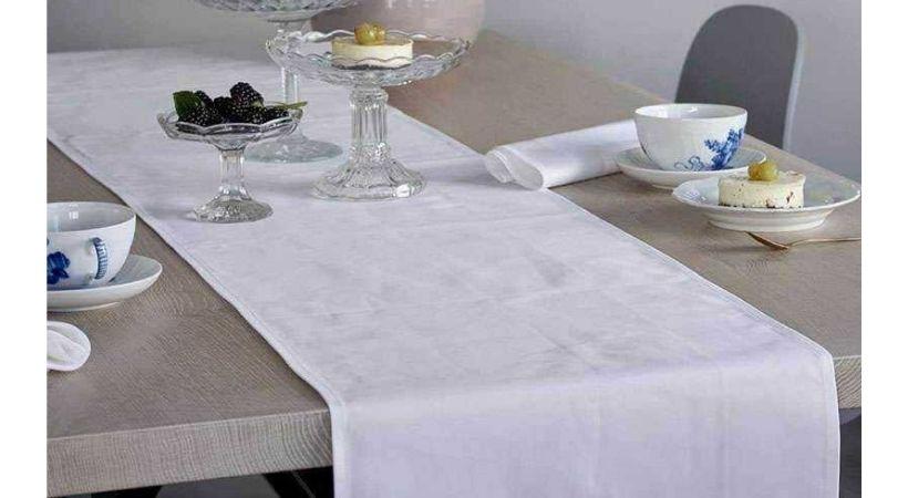 Bordløber i hvidt stof - Deli Da