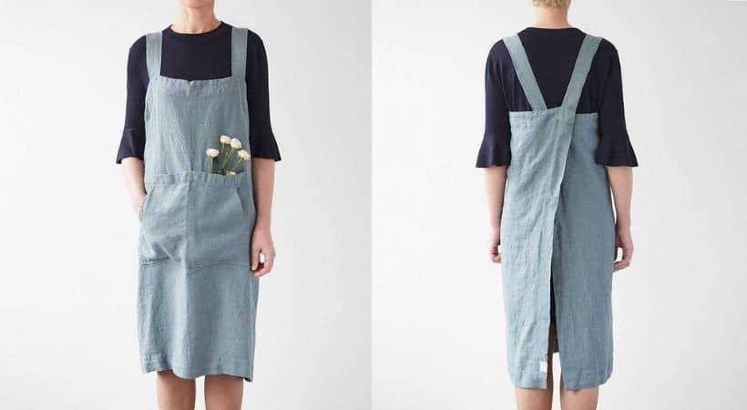Gammeldags forklæde - Smukt lyseblåt retro-design