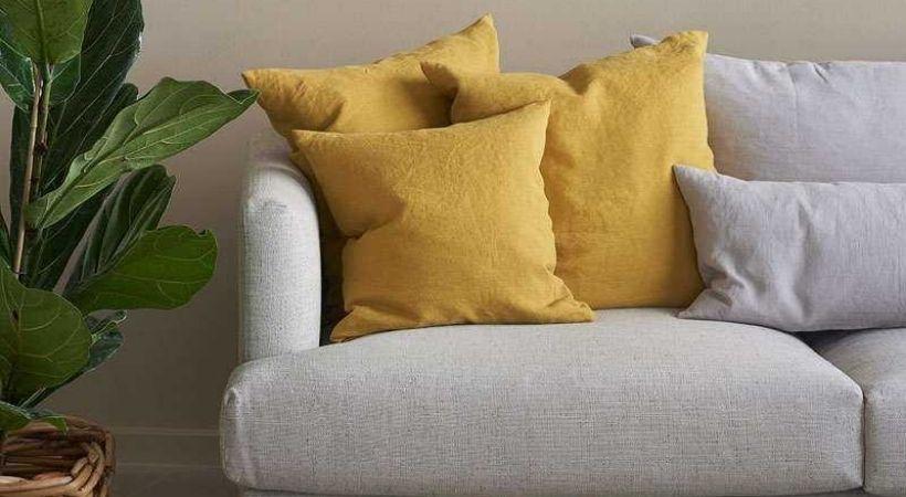 Gult pudebetræk til sofapuder