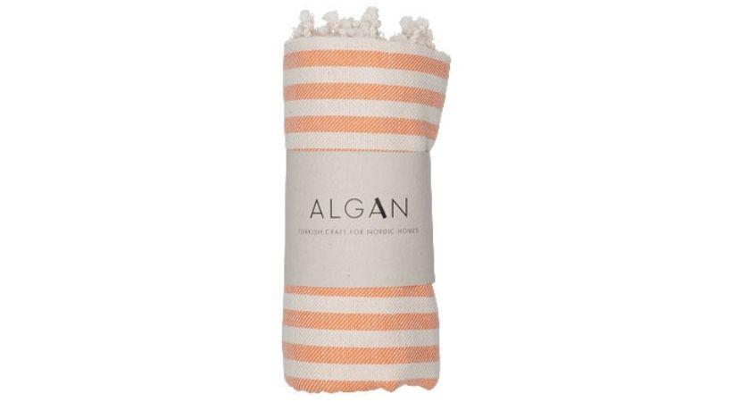 Håndklæde med orange striber