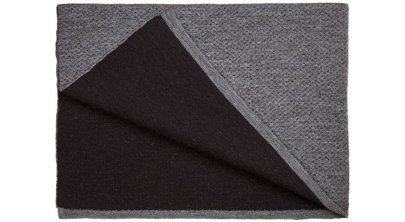 Sort/grå plaid i uld og bomuld - Strik