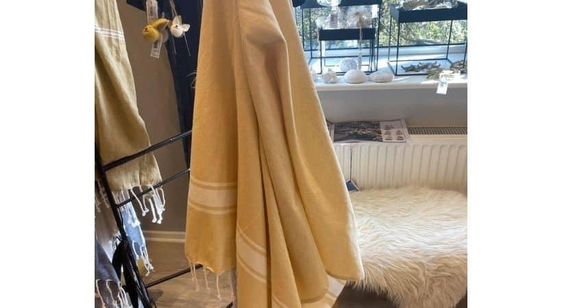 Stort hammam håndklæde - Gul