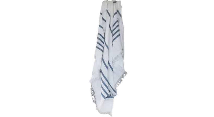 Stort hammam håndklæde - blå/hvid