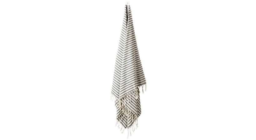 Stribet luksus strandhåndklæde - Sort/hvidt